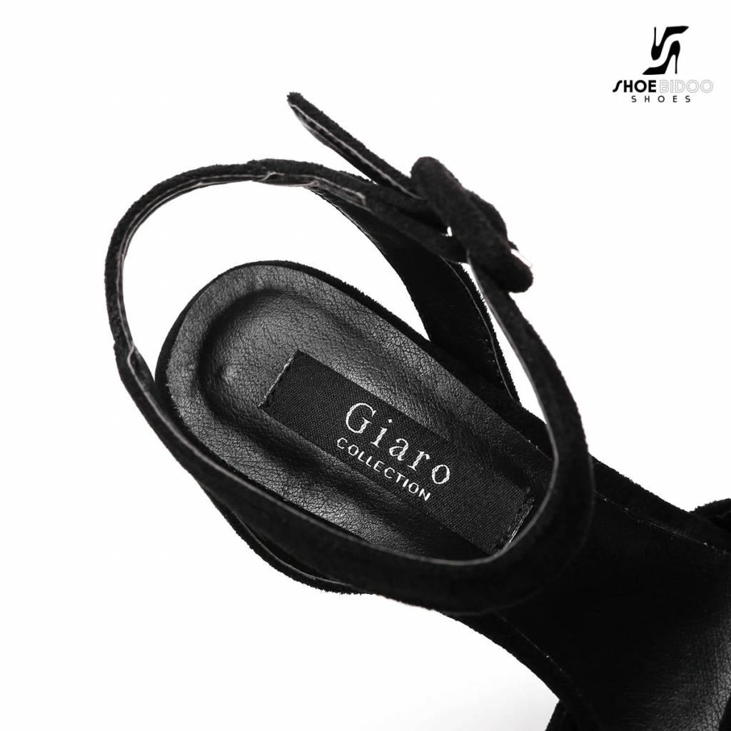 "Giaro Zwarte velour Giaro ""Destroyer"" platform sandalen met enkelbandje"