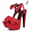 """Giaro Red velour Giaro """"Destroyer"""" sandals with anklestrap"""
