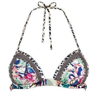 Watercult Halter Bikini Top Floral Camo 7666-016 Vintage Jungle
