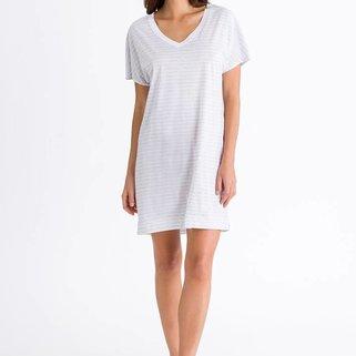 Hanro Shirt Laura 077111 White Grey Stripe
