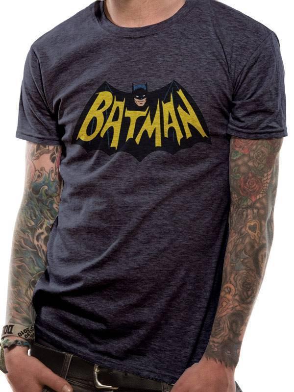 DC Comics Batman Old School Logo 1966 T-Shirt Grey