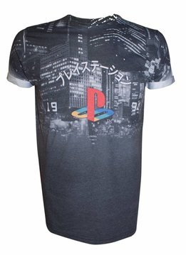 PlayStation Classic Logo on City - T-Shirt