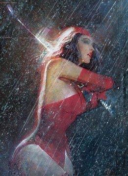 Marvel Elektra in the rain - Displate