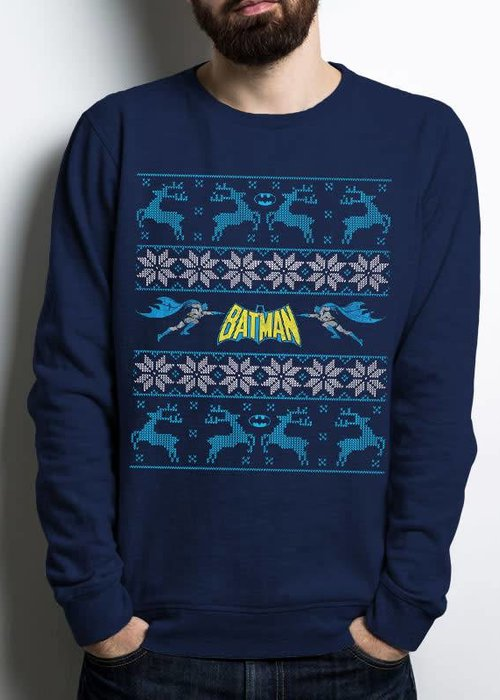 DC Comics Batman Christmas Fair Isle Old School Logo - Sweater