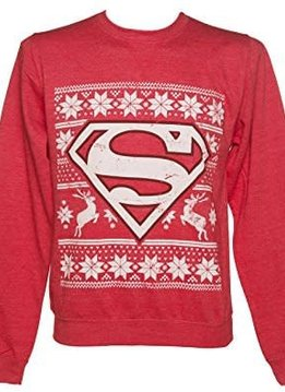 DC Comics Superman Christmas Fair Isle Red - Sweater