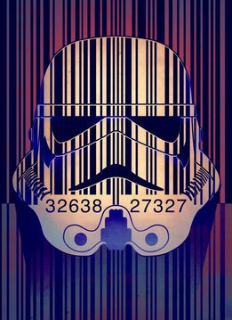 Star Wars Masked Trooper Barcode- Displate First Numbered Print