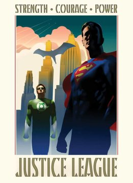 DC Comics Strength Courage Power - Justice League Retro - Displate