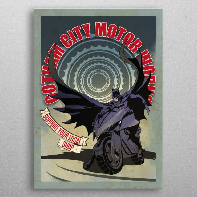 Displate Modern Batcycle - Gotham city Motorcycle Club - Displate