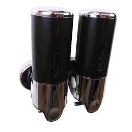 Bathweb Zeepdispenser zwart met 2 reservoirs van elk 400 ml