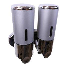 Bathweb Zeepdispenser Zilver | Grijs met 2 reservoirs van elk 400 ml