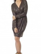 TESSA KOOPS JACKY FAUX LEATHER BROWN DRESS