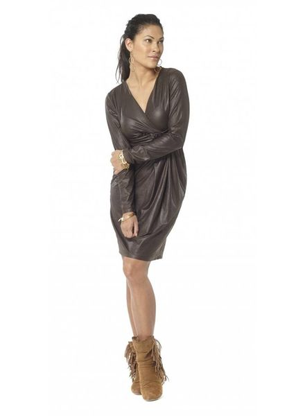 TESSA KOOPS JACKY CURVY FAUX LEATHER BROWN DRESS