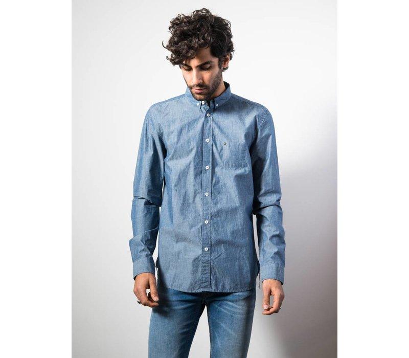 Shirt Hidden Compact Poplin Navy