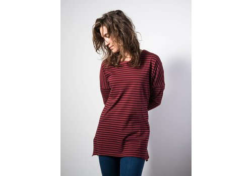 American Vintage Tinibay Longsleeve Striped Navy Red