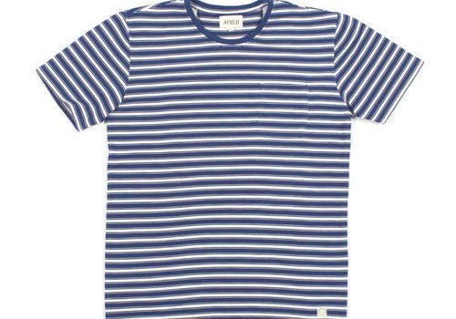 A Field Terry Stripe T-Shirt White Navy