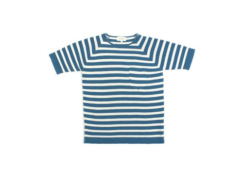 A Field Knitted T-Shirt Blue White