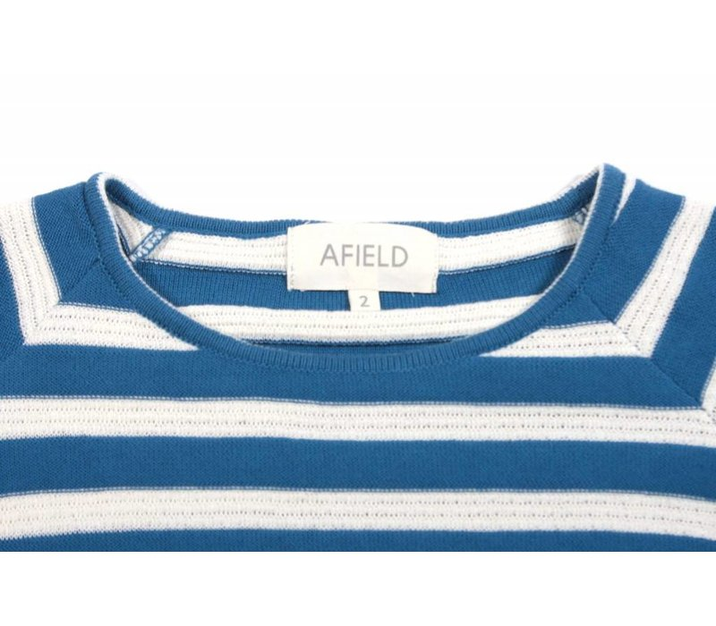 Knitted T-Shirt Blue White