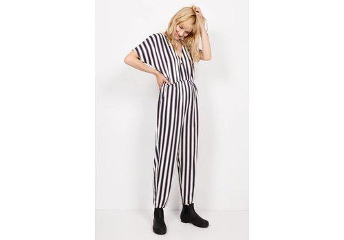 American Vintage Dalida Striped Ecru Navy Jumpsuit