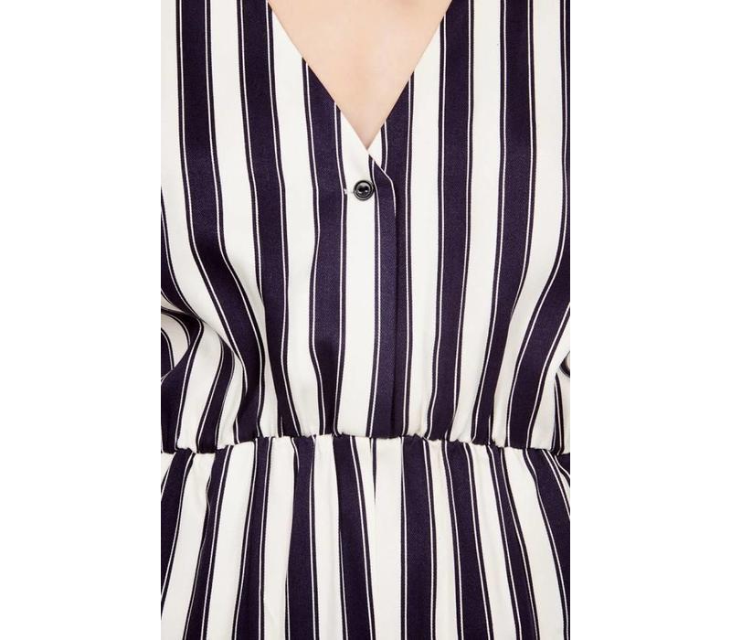 Dalida Striped Ecru Navy Jumpsuit