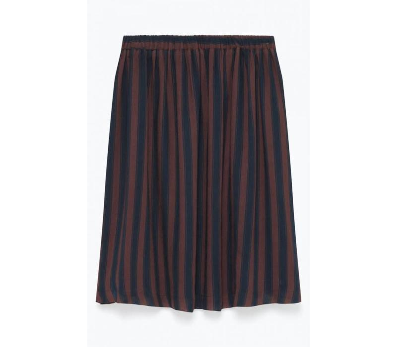 Axiroad Striped Skirt Navy Brown