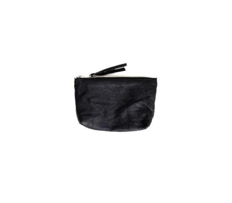 Qai Toiletery Bag Black Recycled Leather