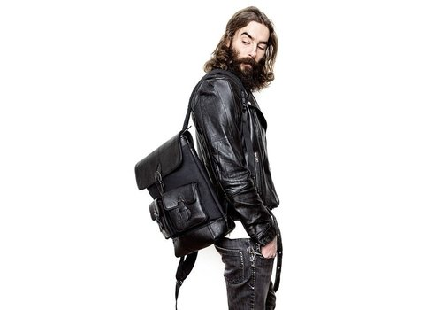 Deadwood Lucas Leather Backpack Black