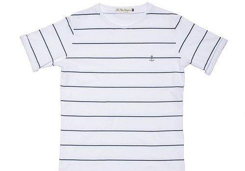 The Blue Uniform Embo Tee Navy Striped