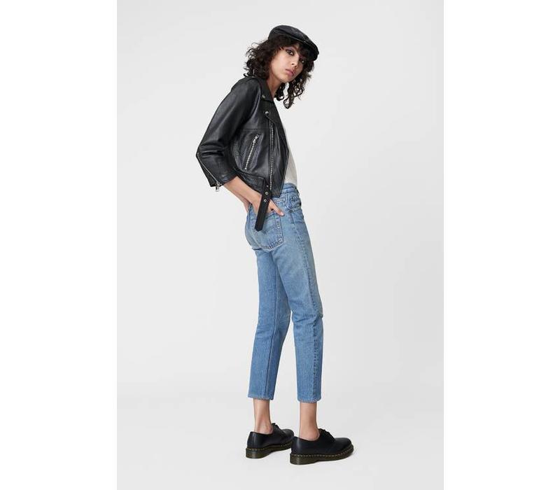 Cropped Biker Jacket Black Leather