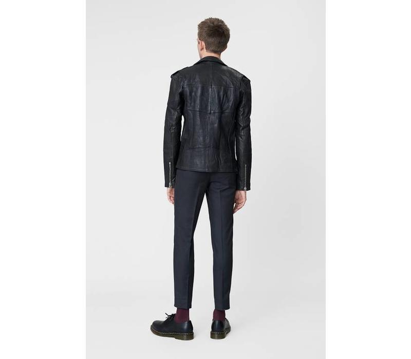 Biker Jacket Men Black Leather