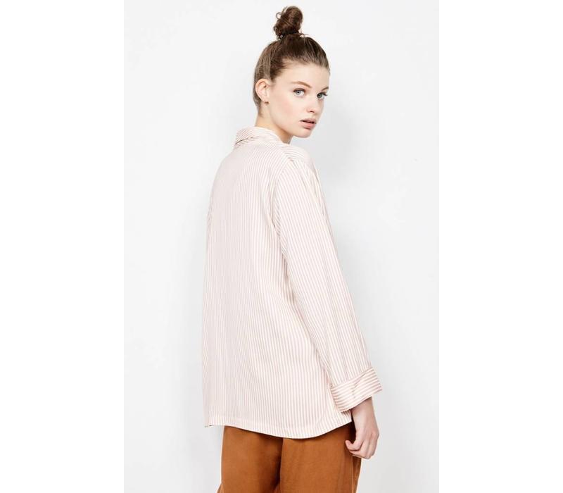 Arivagigi Kimono Jacket Pink White Stripes