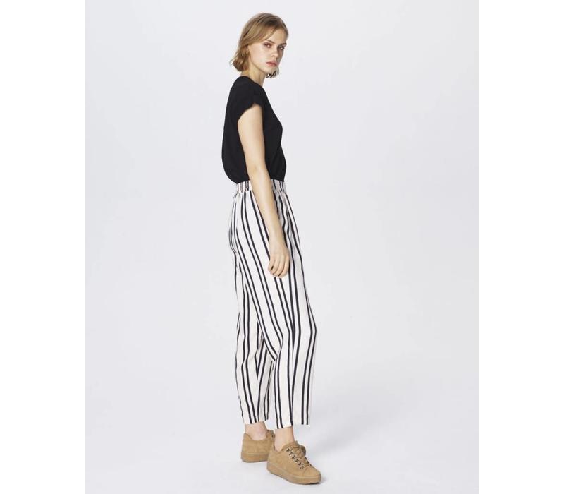 Tracy Jio Loose Pant Ecru Black Stripe