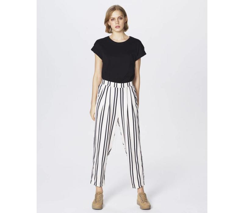 Tracy Jio Loose Pant Ecru Black Stripe