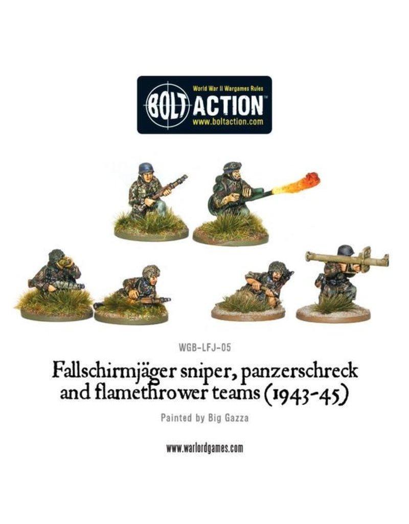 Warlord Games German Fallschirmjager Panzerschrek, sniper and flamethrower teams