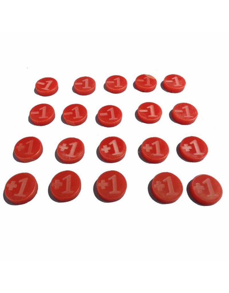 TT COMBAT +1/-1 Counters - Red - Set of 20