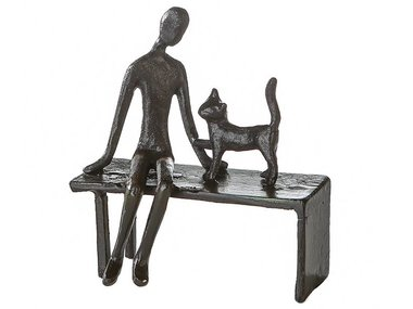Casablanca Metal-Sculpture 'Woman with cat'