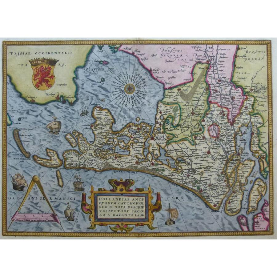 Gouldmaps Holland;  A. Ortelius - Hollandiae Antiquorum (..) - 1579
