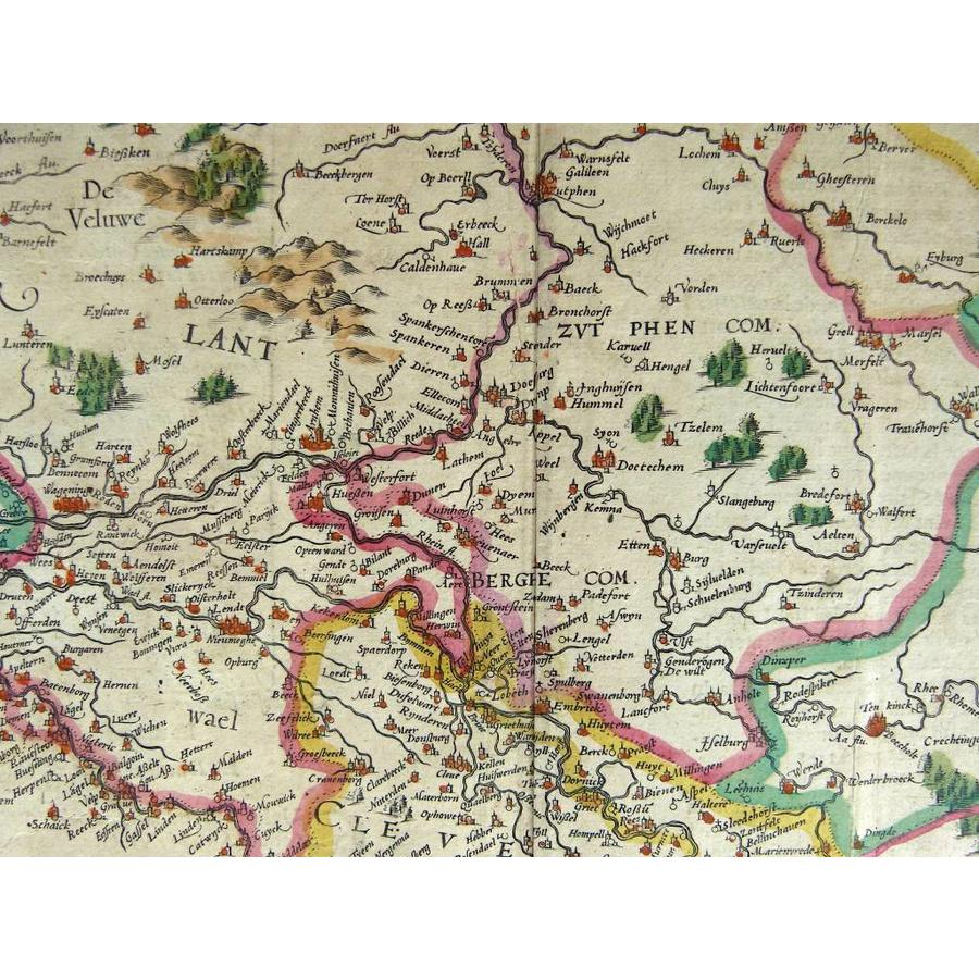 Gouldmaps Gelderland, Overijssel - G. Mercator / J. Hondius - Gelria et Transysulana - 1619