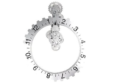 Invotis Big Hour Wheel Clock, silver