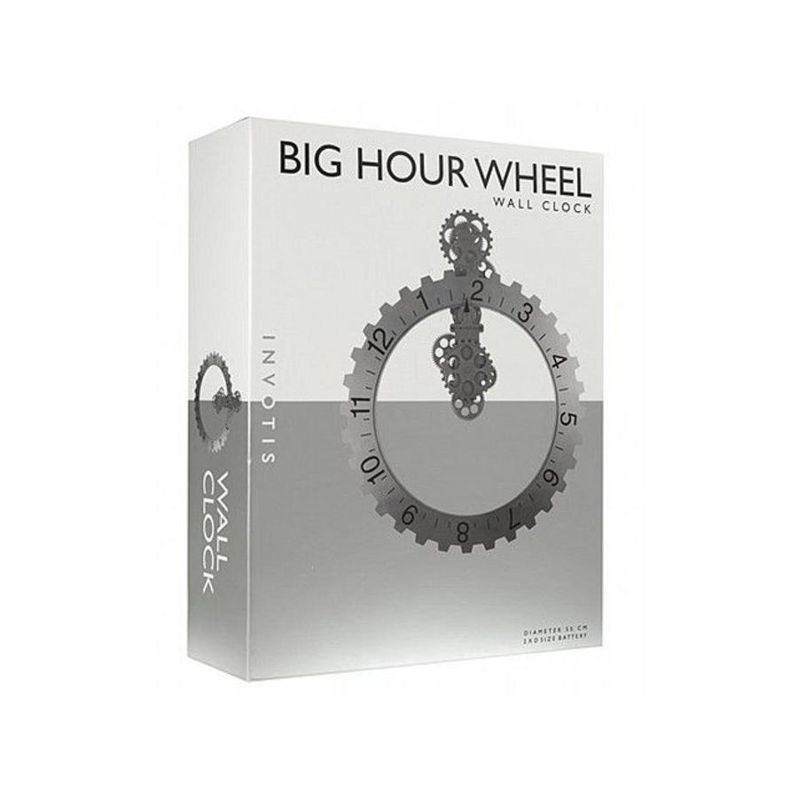 Invotis Big Hour Wheel Clock, silver