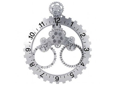 Invotis Big Wheel Year/Month Clock, silver