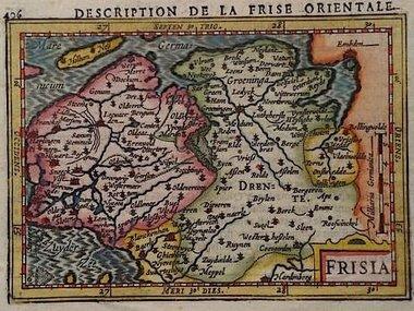 Gouldmaps Noord Nederland; J. Hondius / P. Bertius - Frisia - 1606