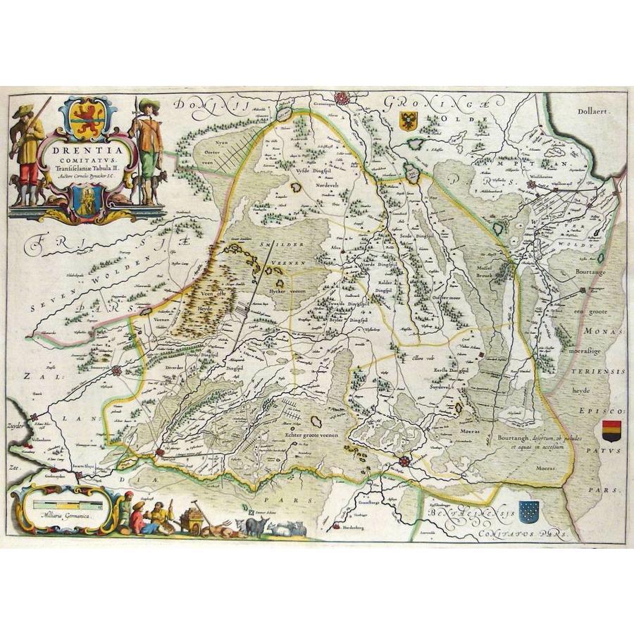 Gouldmaps Drenthe - W. J. Blaeu; Drentia Comitatus (..). - 1640