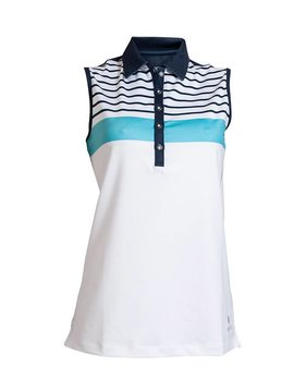 BackTee Striped Sleeveless Polo - Wit