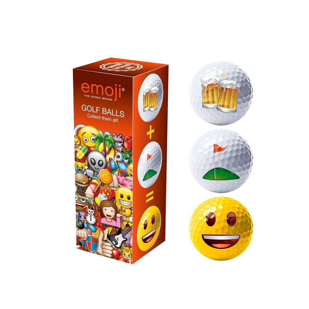 Emoji Novelty pack Beer/Happy/Golf - 3 golfballen