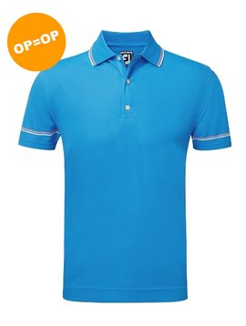 FootJoy Pique Solid Polo - Blauw/Wit/ Azalea