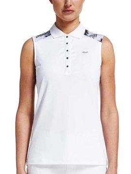 Rohnisch Print Sleeveless Polo Shirt - Wit/Zwart