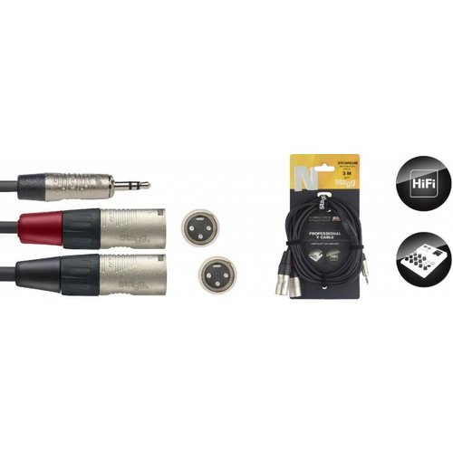 Stagg Stagg NYC3-MPS2XMR 3M Y-Cable Mini Stereo Jack - 2 XLR Male