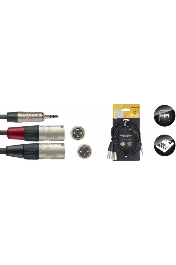 Stagg NYC3-MPS2XMR 3M Y-Cable Mini Stereo Jack - 2 XLR Male