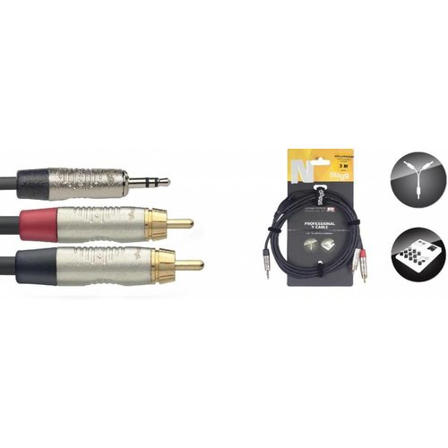 Stagg Stagg NYC3-MPS2CMR 3M Y-Cable Mini Stereo Jack - RCA