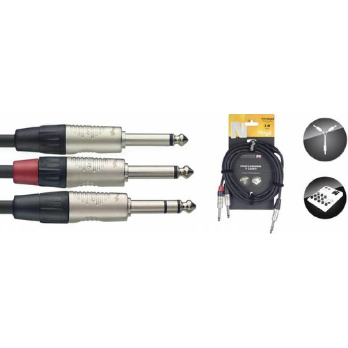 Stagg Stagg NYC3 3M Y-Cable Stereo Jack Male - 2 Jack Mono Male
